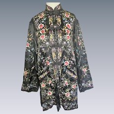 Vintage Chinese silk embroidered jacket coat dress