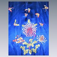 vtg-Beautiful-Chinese-chrysanthemum-and-butterfly-Silk-Robe-Kimono-embroidered
