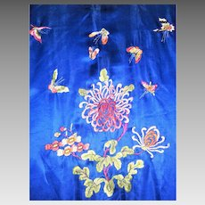 vtg-Beautiful-Chinese-chrysanthemum-and-butterfly-Silk-Robe-Kimono-embroidered