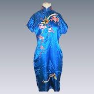 Vtg Chinese turquoise Silk Cheongsam Dress robe embroidered vtg floral bird