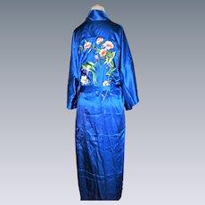 vintage-Embroidered-Silk-chinese-Kimono-robe-Flower-flower-bird
