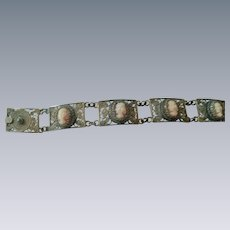 Stunning cameo 900 silver delicate lacey bracelet