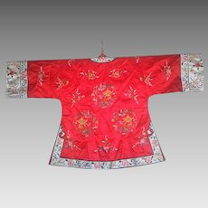 Vintage finely silk embroidered Chinese robe jacket coat