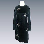 Vintage Velvet Gay Gibson dress with nude mesh floral flower inserts