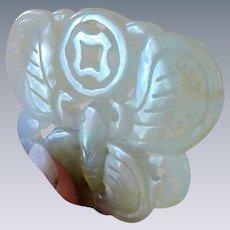VINTAGE chinese jade jadeite Pendant Butterfly moth