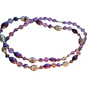 Vintage 1920's Italian Murano Jumbo Hand-Blown Glass Bead Necklace Embedded Florals
