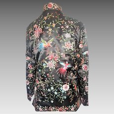 Vintage Hand embroidered silk chinese bird floral coat jacket robe