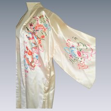 Vintage silk hand embroidered chinese robe kimono coat dragon birds floral