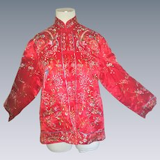 Chinese hand embroidered coat jacket Vintage floral with birds silk
