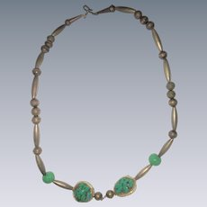 One of a kind artisan sterling silver turquoise squash blossom necklace