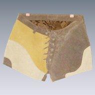 Vintage suede leather short hot pants lace up multicolor