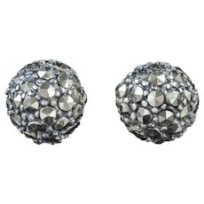 Marcasite Stud Earrings Sterling Silver