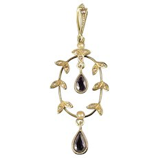 Antique Victorian Amethyst Pearl Pendant 14ct Gold