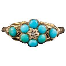 Antique Georgian Turquoise Diamond Ring Dated Birmingham 1819