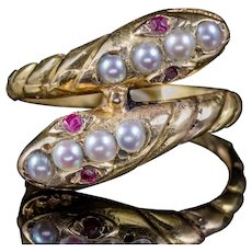 Antique Victorian Ruby Pearl Snake Ring 18ct Gold Circa 1880