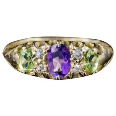 Antique Victorian Diamond Amethyst Peridot Suffragette Ring 18ct Gold Circa 1900