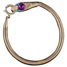 Antique Victorian Amethyst Turquoise Snake Bracelet 9ct Gold Circa 1900