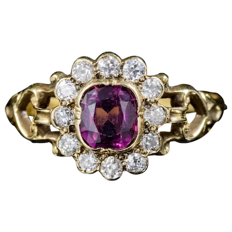 Antique French Victorian Amethyst Diamond Cluster Ring 18ct Gold Circa 1860