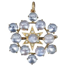 Antique Victorian Moonstone Pearl Star Pendant Brooch 18ct Gold Circa 1880