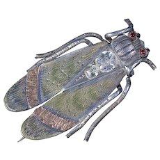 Antique Victorian Beetle Paste Garnet Brooch Silver Circa 1880