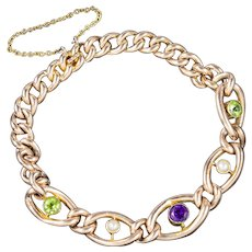 Antique Suffragette Chain Link Bracelet 15ct Gold Victorian Circa 1900