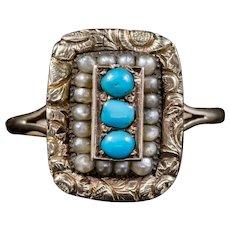 Antique Georgian Turquoise Pearl Ring 18ct Gold Circa 1830