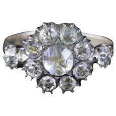 Antique Georgian Paste Stone Ring Silver Circa 1790