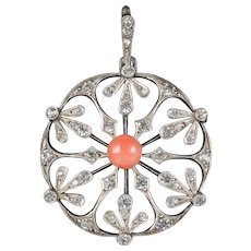 Antique French Art Nouveau Coral Snowflake Pendant Silver Circa 1900