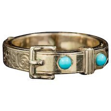 Antique Georgian Mourning Turquoise Buckle Ring 18ct Gold Circa 1800