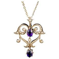 Antique Victorian Amethyst Pearl Pendant Necklace 9ct Gold Circa 1880