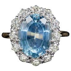 Antique Victorian Aquamarine Diamond Ring 18ct Gold Platinum Circa 1900