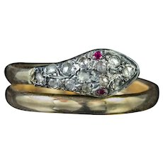 Antique Victorian Diamond Snake Ring 18ct Gold Silver Ruby Eyes Circa 1880