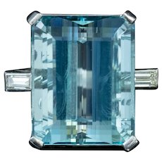 Art Deco Aquamarine Diamond Ring 20ct Aqua Platinum Circa 1920