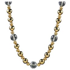 Beaded Necklace 18ct Gold Gilt Glass Crystal