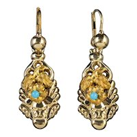 Antique Victorian Forget Me Not Earrings 18ct Gold Gilt Silver Circa 1900