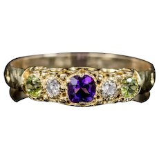 Antique Suffragette Amethyst Diamond Peridot Ring Victorian Circa 1900