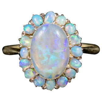 Antique Victorian Natural Opal Cluster Ring 18ct Gold Circa 1900