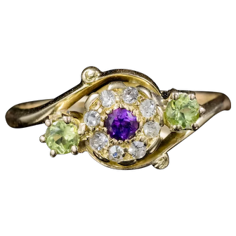 Antique Victorian Fancy Suffragette Cluster Ring 18ct Gold Circa 1900