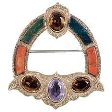 Antique Victorian Scottish 18ct Gold Brooch Agate Amethyst Circa 1880