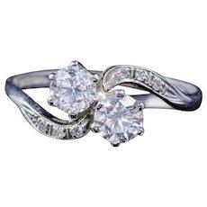 Antique Edwardian Diamond Twist Ring Platinum Engagement Ring Circa 1915