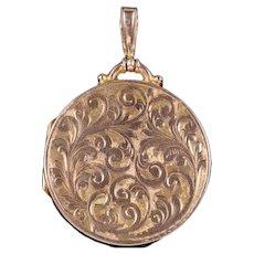 Antique Victorian 9ct Rose Gold Round Engraved Locket Circa 1900