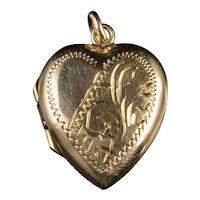 Vintage Heart Locket 9ct Gold Circa 1960