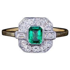 Emerald Diamond Engagement Ring 18ct Gold