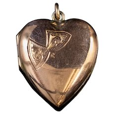 Antique Victorian Heart Locket 9ct Gold Circa 1900
