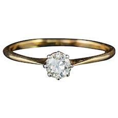 Antique Victorian Diamond Solitaire Engagement Ring 18ct Gold Circa 1900