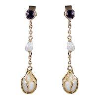 Antique Victorian Amethyst Baroque Pearl Drop Earrings 9ct Gold Circa 1900