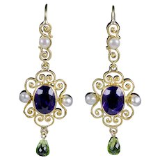 Antique Victorian Amethyst Suffragette Drop Earrings 15ct Gold Circa 1900