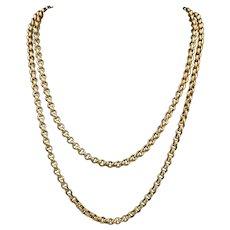 Antique Georgian Long Guard Chain 18ct Gold On Silver Circa 1800