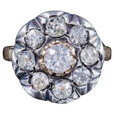 Antique Georgian Old Cut Diamond Cluster Ring 18ct Gold Silver Circa 1830