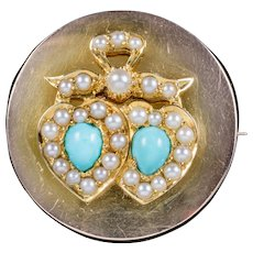 Antique Edwardian Turquoise Pearl Double Heart Brooch Locket 18ct Gold Circa 1910